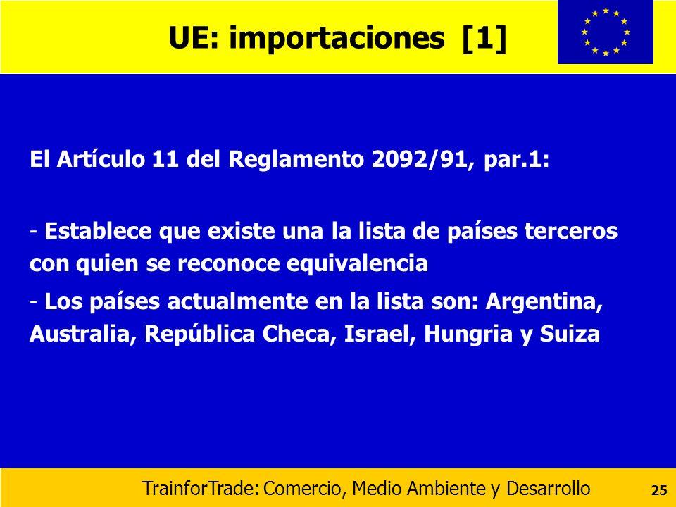 UE: importaciones [1] El Artículo 11 del Reglamento 2092/91, par.1: